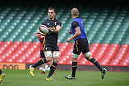 Sam Warburton, the Wales rugby team captain in action during the Wales rugby captains run training session at the Millennium Stadium in Cardiff ,South Wales on Friday 4th Sept  2015. The team are preparing for their next RWC warm up match against Italy tomorrow.  pic by Andrew Orchard, Andrew Orchard sports photography.
