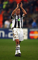 Photo. Javier Garcia<br />11/03/2003 Inter Milan v Newcastle, Champions League Second Phase, San Siro<br />Alan Sheaere realises at the end of the game that a draw may not be enough for Newcastle