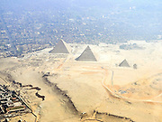 Aerial view of the Pyramids, Egypt, Cairo in the background,