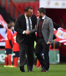 Derby County Manager Darren Wassall is welcomed by Lee Johnson head coach of Bristol City - Mandatory by-line: Paul Knight/JMP - 19/04/2016 - FOOTBALL - Ashton Gate Stadium - Bristol, England - Bristol City v Derby County - Sky Bet Championship