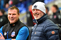 Bolton Wanderers manager Keith Hill (R) smiles with Assistant David Flitcroft<br /> <br /> Photographer Richard Martin-Roberts/CameraSport<br /> <br /> The EFL Sky Bet League One - Bolton Wanderers v Fleetwood Town - Saturday 2nd November 2019 - University of Bolton Stadium - Bolton<br /> <br /> World Copyright © 2019 CameraSport. All rights reserved. 43 Linden Ave. Countesthorpe. Leicester. England. LE8 5PG - Tel: +44 (0) 116 277 4147 - admin@camerasport.com - www.camerasport.com