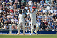 James Anderson of England successfully appealing for the wicket of Cheteshwar Pujara during the fourth day of the 4th SpecSavers International Test Match 2018 match between England and India at the Ageas Bowl, Southampton, United Kingdom on 2 September 2018.