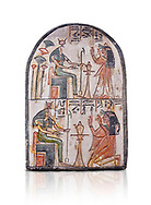 """Ancient Egyptian Ra stele , limestone, New Kingdom, 19th Dynasty, (1279-1190 BC), Deir el-Medina,  Egyptian Museum, Turin. white background, <br /> <br /> Akh iqer en Ra """" the excellent spirit of Ra' stele. One of three stele forund in different rooms of houses in Deir el-Medina where they stood in niches .<br /> <br /> If you prefer to buy from our ALAMY PHOTO LIBRARY  Collection visit : https://www.alamy.com/portfolio/paul-williams-funkystock/ancient-egyptian-art-artefacts.html  . Type -   Turin   - into the LOWER SEARCH WITHIN GALLERY box. Refine search by adding background colour, subject etc<br /> <br /> Visit our ANCIENT WORLD PHOTO COLLECTIONS for more photos to download or buy as wall art prints https://funkystock.photoshelter.com/gallery-collection/Ancient-World-Art-Antiquities-Historic-Sites-Pictures-Images-of/C00006u26yqSkDOM"""