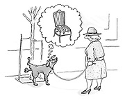 (A dog peeing against a tree imagines he is peeing against a chair leg)