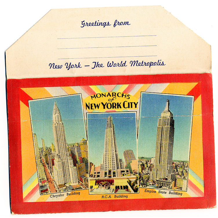 The Empire State, Chrysler and RCA (now GE) buildings depicted on the back cover of a Deco-era packet containing 16 postcard views of 1930s New York. This is from my personal collection of vintage postcards of New York, Florida, and Cuba.