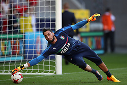 Italy goalkeeper Gianluigi Donnarumma warms up before kick off