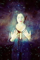 Woman in starry meditation.