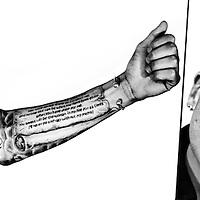 Nederland, Den Haag, 12-02-2013.<br /> Tjaronn Chery, voetballer van ADO Den Haag met zijn tattoo op de linker arm.<br /> Foto : Klaas Jan van der Weij