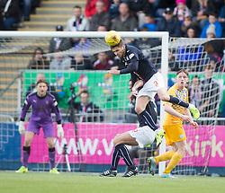 Falkirk's Luke Leahy over Falkirk's David McCracken.<br /> Falkirk 1 v 0 Morton, Scottish Championship game  played 1/5/2016 at The Falkirk Stadium.