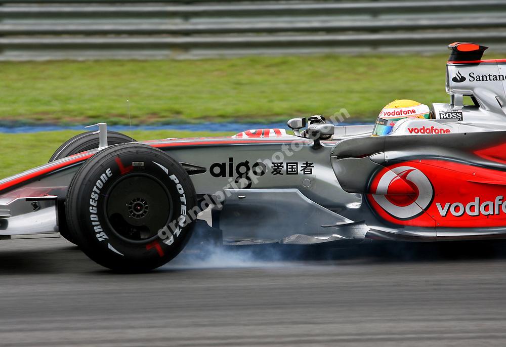 Lewis Hamilton (McLaren-Mercedes) braking hard during practice for the 2008 Malaysian Grand Prix in Sepang. Photo: Grand Prix Photo