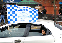 Leicester City fans celebrate victory outside the King Power Stadium, Leicester. Picture date: Saturday May 15, 2021.
