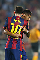 Lionel Messi of FC Barcelona celebrates with Neymar Jr after scoring his side's second goal during the UEFA Champions League, Group F, football match between FC Barcelona and Ajax Amsterdam on October 21, 2014 at Camp Nou Stadium in Barcelona, Spain. Photo MANUEL BLONDEAU / AOP PRESS / DPPI