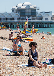 © Licensed to London News Pictures. 19/07/2016. Southsea, United Kingdom.  People enjoying the heatwave in Southsea this afternoon, 19th July 2016. Photo credit: Rob Arnold/LNP