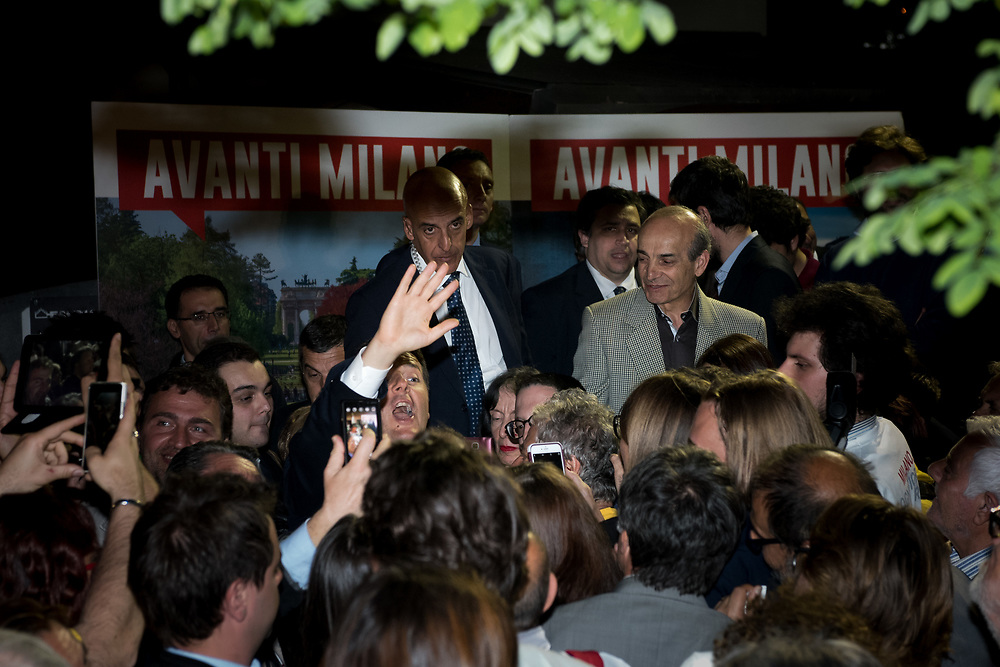 Milan, Italy - 08-05-2016: Prime Minister of Italy, Matteo Renzi, waves and shouts during an event in support of the centre-left mayoral candidate Giuseppe Sala.
