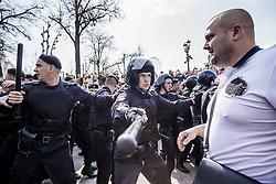 May 5, 2018 - Moscow, Moscow, Russia - Riot police controls manifestants against Putin in a demonstration in Moscow, Rusia. (Credit Image: © Celestino Arce via ZUMA Wire)