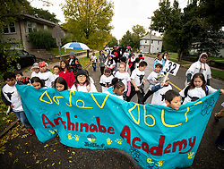 October 8, 2018 - St. Paul, Minnesota, USA - Students from Anishinabe Academy in Minneapolis walked in the Indigenous Peoples Day parade in St. Paul.          ] GLEN STUBBE • glen.stubbe@startribune.com   Monday, October 8, 2018     ..Indigenous Peoples Day (October 8th, 2018) is a celebratory gathering that continues to honor the perseverance, culture, and presence of Indigenous people.   The theme of this year's parade is Empowerment. (Credit Image: © Glen Stubbe/Minneapolis Star Tribune via ZUMA Wire)