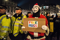 November 5, 2016 - London, United Kingdom - 5th November celebrations. The Million Mask March in which protestors covered their faces with mask and marched to Trafalgar Square to demonstrate against austerity, mass survelliance and human rights. (Credit Image: © Alberto Pezzali/Pacific Press via ZUMA Wire)