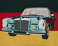 The 1972 Mercedes 300 SEL 6.3 looks like a typical Mercedes like so many family cars have driven around in the 1970s. But nothing could be further from the truth. It has certainly been one of the most powerful of its kind. The Mercedes 300 SEL has a 6.3 engine, is of course very solidly built, it is and remains a Mercedes, and above all, it has a suspension that allows many sports cars to give it a look.<br /> <br /> This painting of the 1972 Mercedes 300 SEL 6.3 in front of the German flag can be purchased in various sizes and printed on canvas as well as wood and metal. You can also have the painting finished with an acrylic plate over it which gives more depth.<br /> -<br /> -<br /> BUY THIS PRINT AT<br /> <br /> FINE ART AMERICA<br /> ENGLISH<br /> https://janke.pixels.com/featured/the-mercedes-300-sel-63-from-1972-in-front-of-german-flag-jan-keteleer.html<br /> <br /> <br /> WADM / OH MY PRINTS<br /> DUTCH / FRENCH / GERMAN -<br /> https://www.werkaandemuur.nl/nl/shopwerk/De-Mercedes-300-SEL-6-3-uit-1972-voor-de-Duitse-vlag-/661946/132?mediumId=1