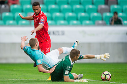 Clayton Failla of Malta and Andrew Hogg of Malta vs Nejc Skubic of Slovenia during football match between National teams of Slovenia and Malta in Round #6 of FIFA World Cup Russia 2018 qualifications in Group F, on June 10, 2017 in SRC Stozice, Ljubljana, Slovenia. Photo by Vid Ponikvar / Sportida