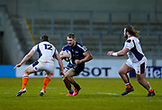 Sale Sharks centre Sam Hill runs at Edinburgh Rugby centre Chris Dean during the European Champions Cup match Sale Sharks -V- Edinburgh Rugby at The AJ Bell Stadium, Greater Manchester,England United Kingdom, Saturday, December 19, 2020. (Steve Flynn/Image of Sport)