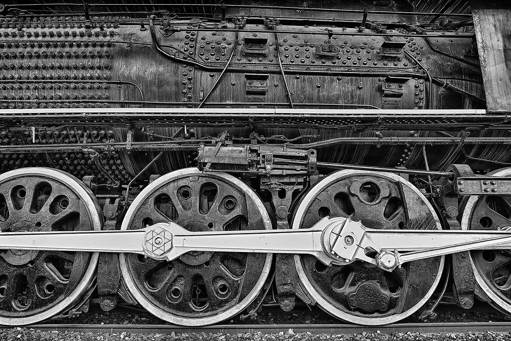 The massive wheels that carried steam-engine locomotive Northern 833.