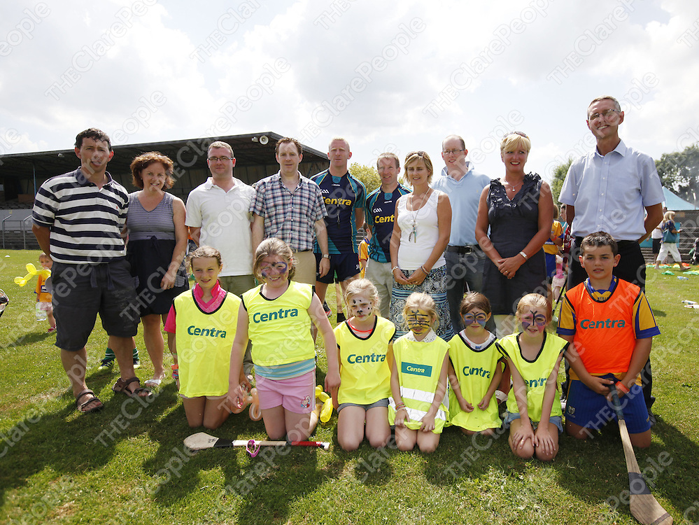 20/7/2013.  Attending the Centra Family Fun Day in Cusack Park were Ger Rodgers, Trish Rodgers, Scarriff, Kevin Tighe, Corofin, Joe Deasy, Clarecastle, Hurling Stars John Mullane, Jamsie OÕConnor, Pamela Deasy, Clarecastle, Michael Killoury, Centra Regional Manager, Kay Ryan, Paul Ryan, Clonroadmore and players Alva Rogers 10 Scarriff, Ciara Tighe 10 Clare, Leona Donnlan, Ella 7 Doora, Tori 5 and Zara Deeasy10 with Mark Rogers 12 Scarriff. <br /> Picture Credit Tony Grehan Press 22<br /> 20/7/2013.  Attending the Centra Family Fun Day in Cusack Park were Ger Rodgers, Trish Rodgers, Scarriff, Kevin Tighe, Corofin, Joe Deasy, Clarecastle, Hurling Stars John Mullane, Jamsie O'Connor, Pamela Deasy, Clarecastle, Michael Killoury, Centra Regional Manager, Kay Ryan, Paul Ryan, Clonroadmore and players Alva Rogers 10 Scarriff, Ciara Tighe 10 Clare, Leona Donnlan, Ella 7 Doora, Tori 5 and Zara Deeasy10 with Mark Rogers 12 Scarriff. <br /> Picture Credit Tony Grehan Press 22