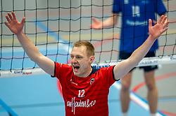 Daan van Haarlem of Taurus in action during the quarter cupfinal between Taurus vs. Sliedrecht Sport on April 02, 2021 in sports hall De Kruisboog, Houten