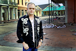 17 October 2013. Abandoned Six Flags, New Orleans, Louisiana. <br /> Terry McDermott and the Bonfires. <br /> Dave Rosser.<br /> Photo; Charlie Varley