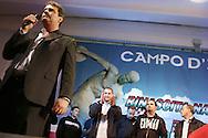 Campo d'Azione 2006 di Forza Nuova a Marta (VT): Roberto Fiore, leader e fondatore di Forza Nuova durante il suo comizio meeting of forza nuova, raduno forza nuova