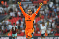 Burnley Goalkeeper Thomas Heaton celebrates at the final whistle of the game after it finishes 1-1. Premier league match, Tottenham Hotspur v Burnley at Wembley Stadium in London on Sunday 27th August 2017.<br /> pic by Steffan Bowen, Andrew Orchard sports photography.
