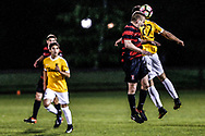 Stanford's Derek Waldeck, second from right, and  San Francisco City FC's Bryce Marion, right, jump as they reach for a header during the second half of a preseason friendly game at Stanford University in Palo Alto, California on April 7, 2017. San Francisco City FC claimed a victory with a final score of 1-0.
