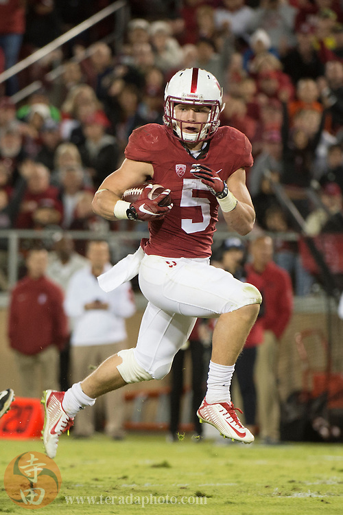 November 14, 2015; Stanford, CA, USA; Stanford Cardinal running back Christian McCaffrey (5) scores a touchdown against the Oregon Ducks during the second quarter at Stanford Stadium.