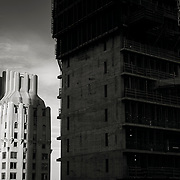 SHoP Architects 111 West 57th Street supertall residential condominium under construction over the Steinway Piano Building just south of New York's Central Park.  The pinnacle of luxury apartments it will be a new landmark for the city.