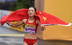 TAICANG, May 5, 2018  China's Liang Rui celebrates after women's 50km competition at the IAAF World Race Walking Team Championships Taicang 2018 in Taicang, east China's Jiangsu Province, May 5, 2018. wll) (Credit Image: © Ji Chunpeng/Xinhua via ZUMA Wire)