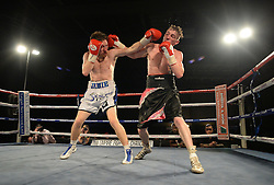 Jamie Speight in action with Robbie Turley - Photo mandatory by-line: Alex James/JMP - Mobile: 07966 386802 - 02/12/2014 - SPORT - Boxing - Bristol - Bristol City academy - Jamie Speight v Robbie Turley  - Boxing