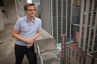 """Chris Hayes, host of the MSNBC television show """"UP with Chris Hayes"""" at Rockefeller Center in New York. . . Photo by Robert Caplin"""