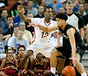 Cameron McGriff (12 of South Grand Prairie defends against Austin Henry (5) of Cibolo Steele during the UIL Conference 5A semifinals at the Frank Erwin Center in Austin on Friday, March 8, 2013. (Cooper Neill/The Dallas Morning News)