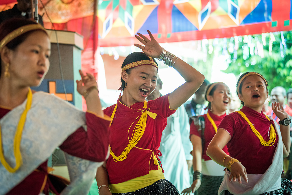 14 September 2018, Laxmipur, Nepal: A traditional dance helps celebrate, as more than 800 congregants, guests and dignitaries gather for the 75th anniversary celebrations of the Nepal Evangelical Lutheran Church, an LWF member church.