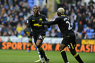 Wigan's Maynor Figueroa © celebrates with fellow scorer Arouna Kone (r) after he scores his sides 3rd goal. Barclays Premier league, Reading v Wigan Athletic at the Madejski Stadium in Reading on Saturday 23rd Feb 2013. pic by Andrew Orchard, Andrew Orchard sports photography,