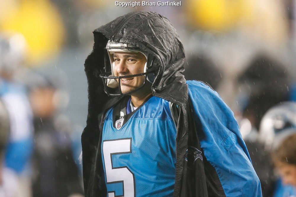 8 August 2008: Carolina Panthers PK Rhys Lloyd #5 on the bench with a raincoat during the game against the Philadelphia Eagles on August 14, 2008. The Eagles beat the Panthers 24 to 13 at Lincoln Financial Field in Phialdelphia, Pennsylvania.