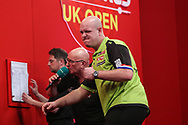Michael van Gerwen wins leg and celebrates during the Ladrokes UK Open 2019 at Butlins Minehead, Minehead, United Kingdom on 1 March 2019.
