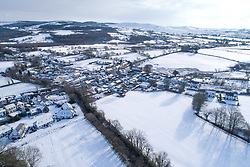 © Licensed to London News Pictures. 1/02/2019. Pontrhydfendigaid, UK. The isolated village of Pontrhydfendigaid in Ceredigion , mid wales, under  a banket of snow. Photo credit: Keith Morris/LNP