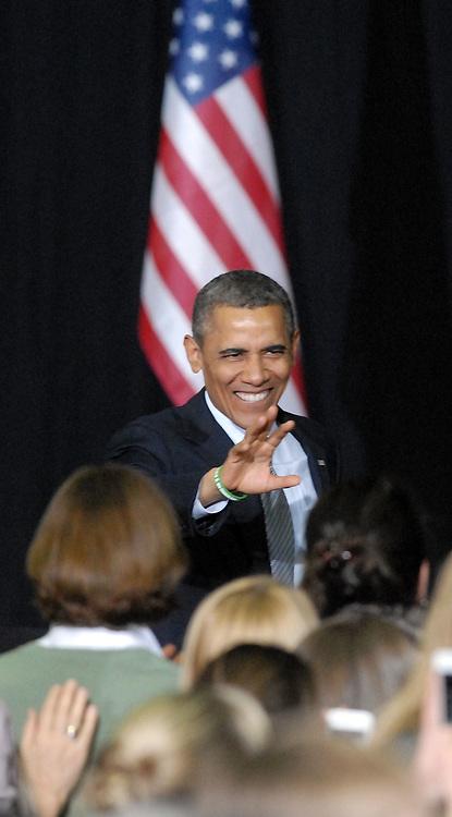 University of Hartford, West Hartford: President Barack Obama arrives to speak on gun control. Mara Lavitt/New Haven Register<br /> <br /> 4/8/13