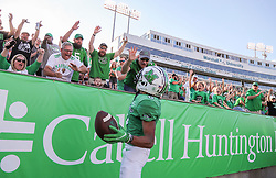 Oct 9, 2021; Huntington, West Virginia, USA; Marshall Thundering Herd wide receiver Shadeed Ahmed (0) celebrates with fans after catching a touchdown pass during the first overtime against the Old Dominion Monarchs at Joan C. Edwards Stadium. Mandatory Credit: Ben Queen-USA TODAY Sports