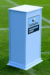 Gallagher Premiership Rugby branded plinth prior to kick off - Mandatory by-line: Ryan Hiscott/JMP - 10/10/2020 - RUGBY - Sandy Park - Exeter, England - Exeter Chiefs v Bath Rugby - Gallagher Premiership Rugby Semi-Final