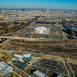 Aerial view of the View Philadelphia Sports Complex skyline, route 95 and Nay yard.