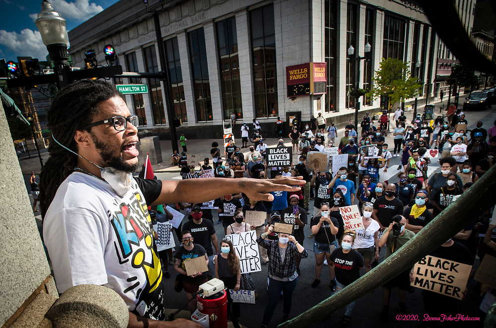 Black Lives Matter rally in Allentown, Pa. on Monday, July 13, 2020. Marchers rallied at 7th and Hamilton and marched to the Lehigh County Prison.<br /> - Photography by Donna Fisher<br /> - ©2020 - Donna Fisher Photography, LLC<br /> - donnafisherphoto.com
