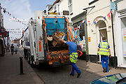 Refuse recycling vehicle in the streets of the town of Woodbridge, Suffolk, England