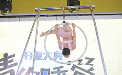 June 22, 2017 - Shenyang, Shenyang, China - Shenyang, CHINA-June 2017: (EDITORIAL USE ONLY. CHINA OUT) A woman performs aerial ring dance at a shopping mall in Shenyang, northeast China, June, 2017. (Credit Image: © SIPA Asia via ZUMA Wire)