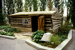 Utah: Salt Lake City, Pioneer Log House, log cabin, photo: utsalt105  .Photo copyright Lee Foster, www.fostertravel.com, 510/549-2202, lee@fostertravel.com